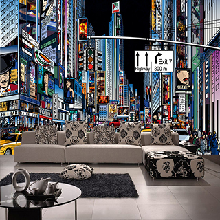 Large mural wallpaper hotel engineering KTV Hotel Bar Cafe New York Street Times Square(China (Mainland))