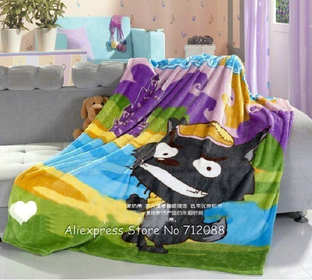 Wholesale,Cartoon 150*200cm Coral Fleece Thickened Summer Bed Sheets Big Big Wolf Children Blankets,10 Pcs/Lot(China (Mainland))