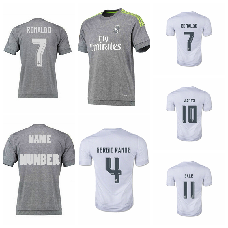 2015 Camisa Real Madrid Soccer Jerseys, Home Away Chandal Real Madrid Jersey 2016 Football Shirt RONALDO BALE JAMES KROOS LUCAS(China (Mainland))