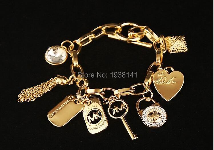 5pcs wholesale Fashion Design Gold/silver Michaell Letter Heart Lock Bracelet Classic Chain Link bracelet  for Women  B05<br><br>Aliexpress