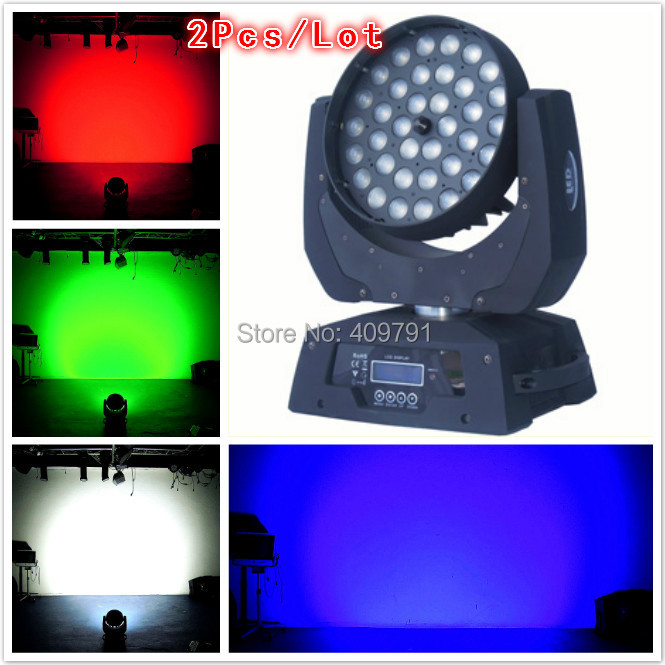 Flightcase+2Pcs Free Shipping DMX Diamond 36x10W RGBW 4 IN1 LED moving head light,LED Stage Lighting,LED Wash Moving Head Light(China (Mainland))