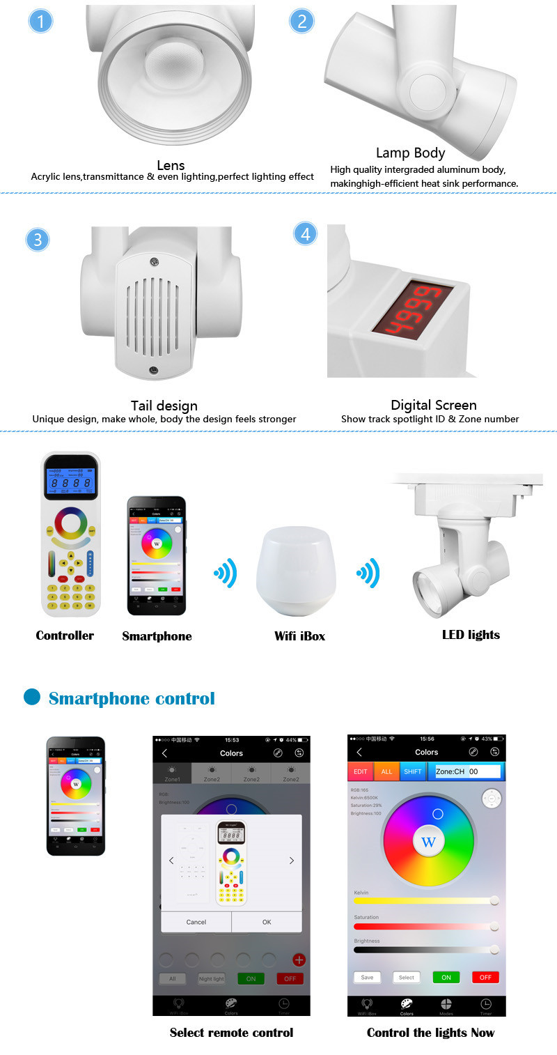25w Newest Automatic Motor Rotatable 2.4G RF Smartphone Remote 35degree Beam angle Track Light Spotlight