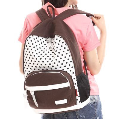 2014 Casual Women's Colorful Canvas Dot Backpacks Girl Lady Fashion Student School Travel bags Mochila Free&Drop shipping - E-fashion Times store