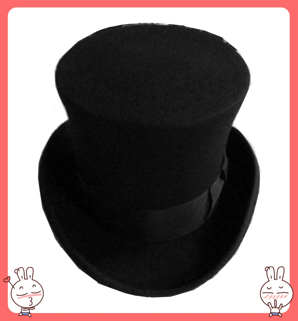 18.0cm(7.1inch) Steampunk / Mad Hatter Top Hat / Victorian Vintage Traditional Wool Fedoras Hat / Cylinder Hat/ Chimney Pot Hat(China (Mainland))