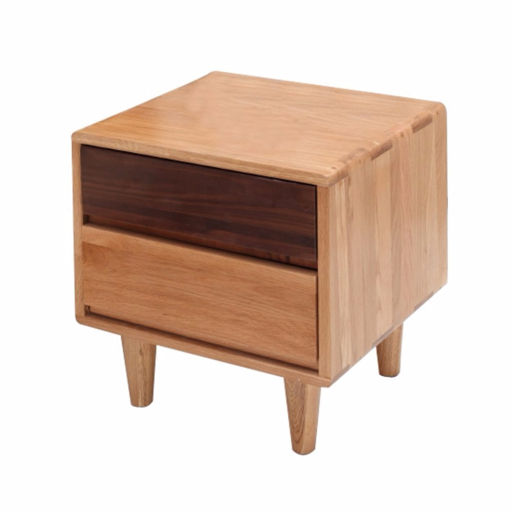 ZERUN Solid Oak Dresser 2 Layer Bed Side Cabinet Locker 2 Drawers Bedside Chest nightstand 45*40*50cm(17.55*15.6*19.5Inch)(China (Mainland))