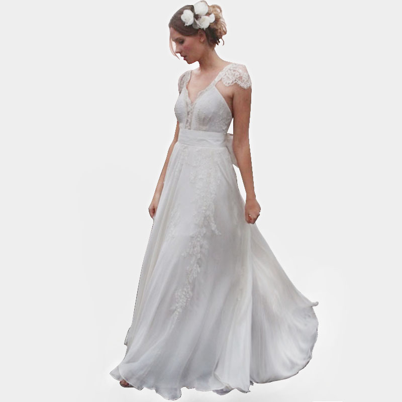 Sexy V Neck Chiffon Beach Wedding Dresses 2015 Long Lace Appliques Cap Sleeve