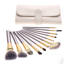 12 PCS Make up Brushes tools Beige Facial makeup brush kits Cosmetic Brush Set with beige bag free shipping