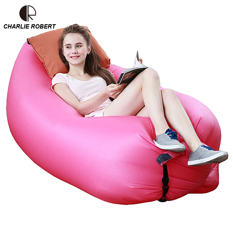 Colorful Inflatable Lazy Sleeping Bag Camping Beach Sofa Bed Hiking Travel Hangout Air Sofa Bed Garden Patio Outdoor Furniture(China (Mainland))