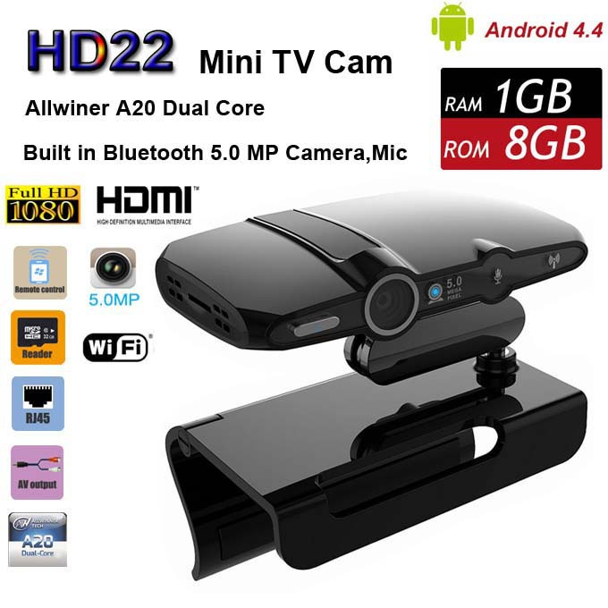 EU3000 HD22 Android 4.4 TV Box Allwiner A20 Dual Core 1G 8G with 5.0MP Camera 1080P Smart Mini PC Video Phone XBMC HDMI Wi-Fi
