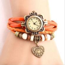 Nuevo diseño hechos a mano pulsera trenzada corazón amor para mujer del reloj de Quarzt relojes Relogio Feminino