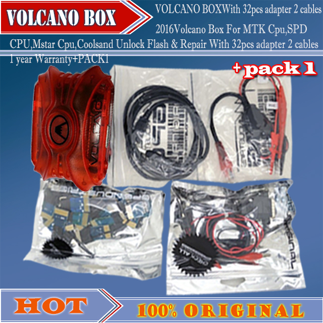 2016 Volcano Box For MTK Cpu,SPD CPU,Mstar Cpu,Coolsand Unlock Flash & Repair With 32pcs adapter 2 cables 1 year Warranty+PACK1(China (Mainland))