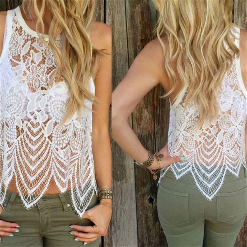 fover21 #7022 Hot Selling Women Lace Crochet Vest Tank Top Casual Sleeveless Blouse 1(China (Mainland))