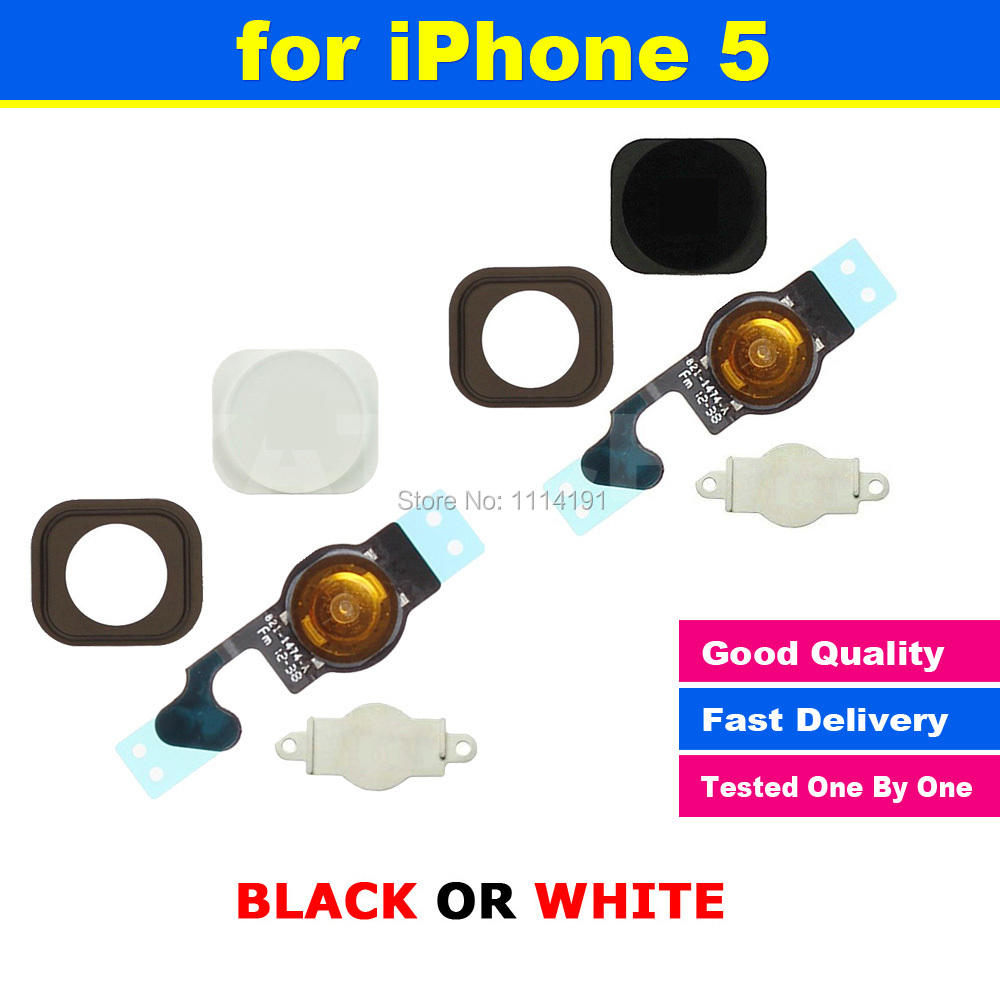 FREE SHIPPING X 1 SET New Home Button Sensor Ribbon Flex Cable Complete Assembly Spare Part Replacement For iPhone 5 5G(China (Mainland))