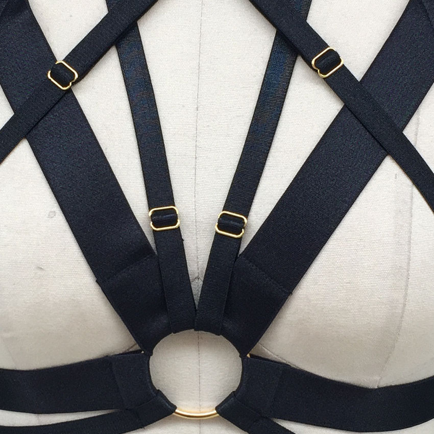 Women Black exotic bra harness bondage cage bra Harajuku sexy lingerie Harajuku Gothic Summer style harness body cage bra