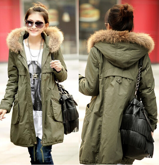 Womens Green Parka Jacket With Fur Hood | Jackets Review