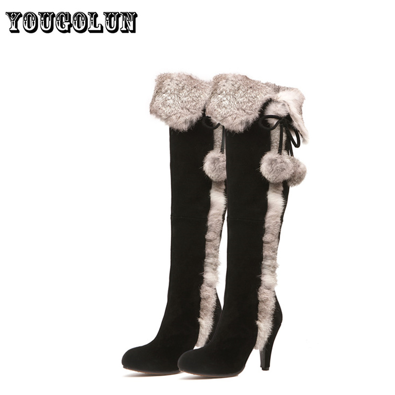 2015 nubuck genuine leather women black high heels shoes thigh knee high long snow boots ladies fashion winter plush woman boot<br>