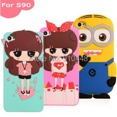 New Arrival 3D Cartoon Girls Yellow Minion Character soft silicone case cover for Lenovo Sisley S90 S90-t with Free Screen Film(China (Mainland))