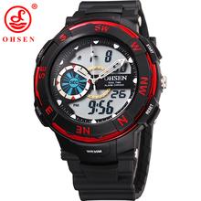 Ohsen marca hombres muchacho relojes LED Digital de cuarzo reloj multifunción impermeable reloj de buceo de natación exterior ejército militar reloj de pulsera