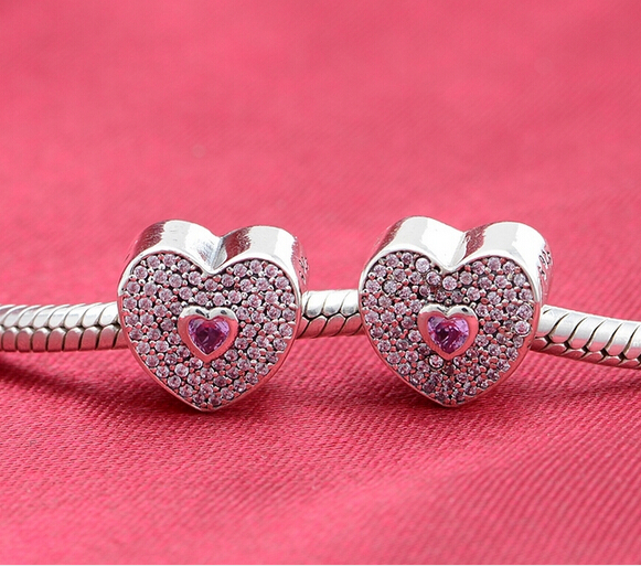 Authentic 925 Sterling Silver Original high quality pink zirconia heart charm Fits Pandora Charm Bracelet DIY jewelry(China (Mainland))