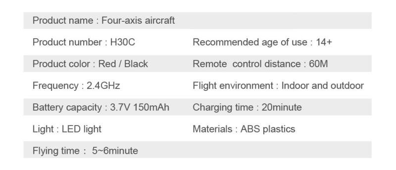 Hot sell H30C Mini Drone 2.4G 4Ch 6-Axis RC Quadcopter 2.0MP HD Camera memory card One Key Return Headless Mode VS CX-10W