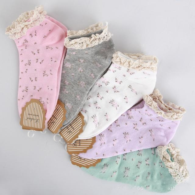 2015 новое поступление мода лето хлопок довольно цветочный невидимые носки для женщин
