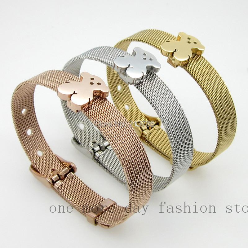 free shipping(5 piece/lot) fashion 2015 titanium steel adjustable leather buckle 18k gold plated bear charm mesh bracelet women(China (Mainland))