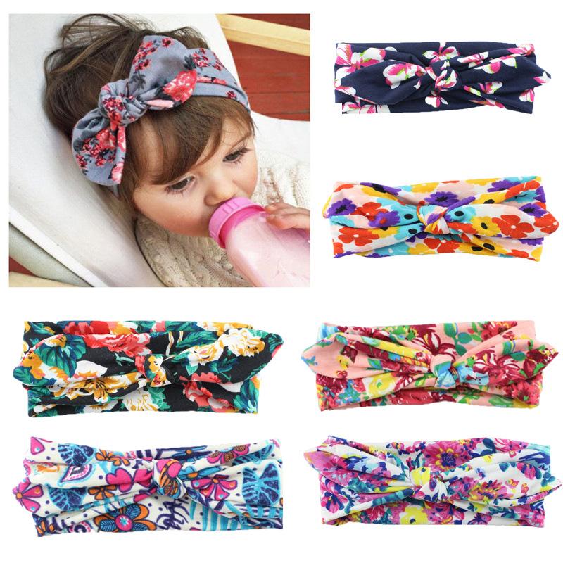 New Children Cotton Printing Cross Hair Band Baby Girl Headband Bohemian Rabbit Ears Headband Hair Accessories(China (Mainland))