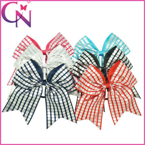 "8"" Silver Plaid Cheerleading Hair Bow For Girls Grosgrain Ribbon Cheer Bows Handmade Ponytail Holder 12Pcs/lot CNEHB-1505091(China (Mainland))"