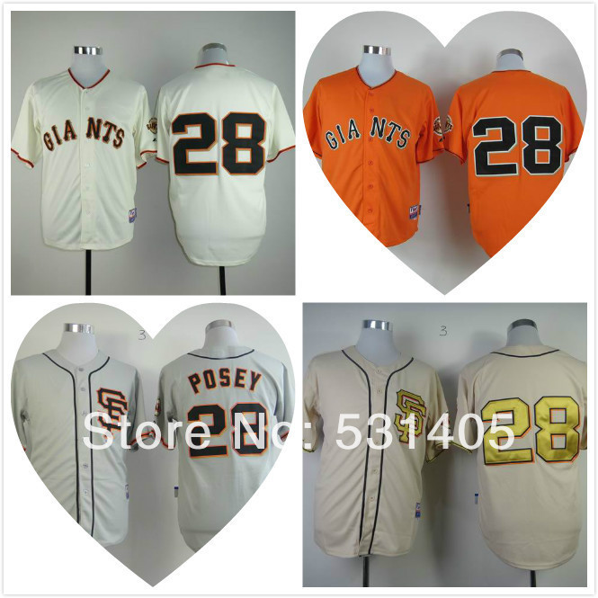 New Embroidery Logo,s san francisco giants jersey #28 Buster Posey cream orange gray rice white(China (Mainland))
