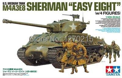 New arrival! Tamiya 25175 1/35 U.S. Medium tank M4A3E8 Sherman Easy Eight w/4 figures plastic model kit(China (Mainland))
