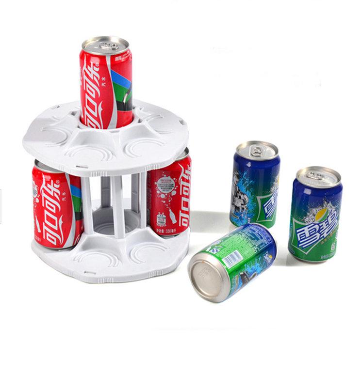 1PC 2 Tier Spining Coke Holder Rotating Coke Can Rack Kitchen Organizer Bottle Shelf Cabinet(China (Mainland))