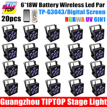 Discount Price 20 Pack 6x18W RGBWA UV 6IN1 Wireless Rechargeable Battery Powered LED PAR Can 64 Led Stage Light Mobile App(China (Mainland))