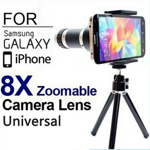 Universal 8X Zoom Mobile Phone Telescope Lens + Tripod Holder For Samsung S3 S4 For iPhone 6 6 Plus 4S 5 5S Universal Phones