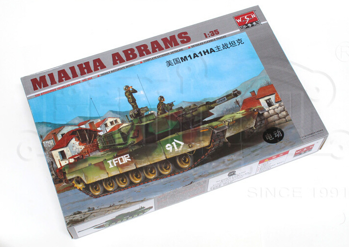 hobby toys Static Main Battle Tanks Model 1/35 scale US Army M1A1 HA electric tank model assembling toys(China (Mainland))