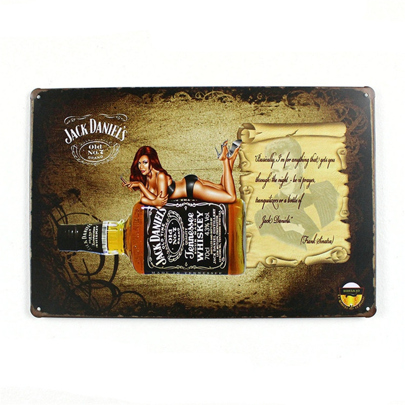Jack Daniel's Old Time Whiskey home decor shabby chic metal crafts for bar coffee sexy woman metal sign LY74907-1(China (Mainland))