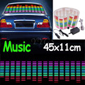 New Music Rhythm LED Flash Light Lamp Sound Activated Equalizer Car Sticker 45x11cm Free shipping
