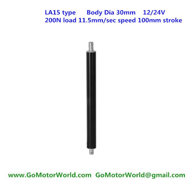 200N 20KG 44LBS load 11.5mm/s 0.46inch/s speed 100mm 4inch stroke 12V 24V DC hot sell mini tubular linear motor LA15 type