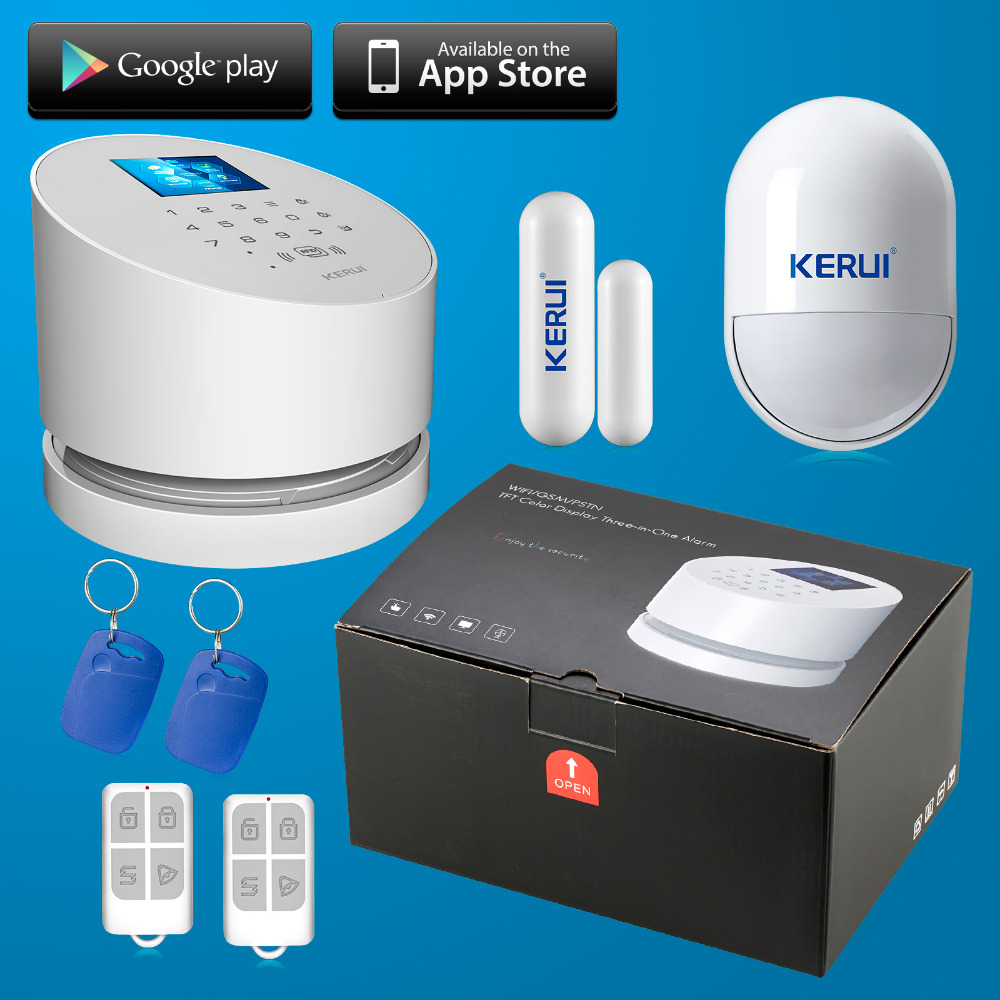 KERUI Wireless wifi alarm system IOS andorid APP Wifi GSM PSTN line telephone RFID Security wifi alarm system with original box(China (Mainland))