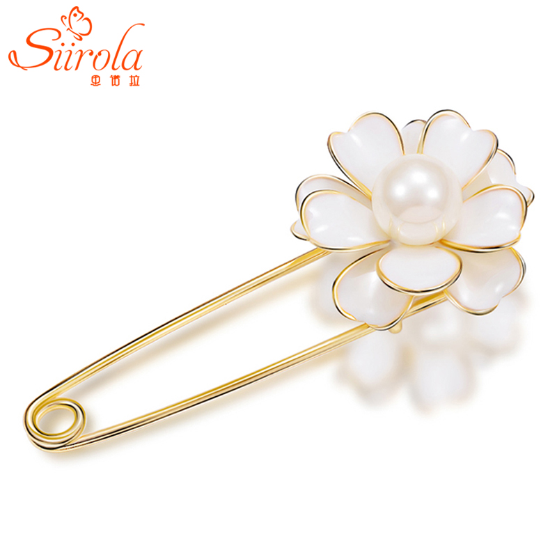Jewelry accessories Hand painting Camellia Flower Silver gold Imitation pearl Corsage Hijab Lapel Big pins Scarf buckle Brooches(China (Mainland))