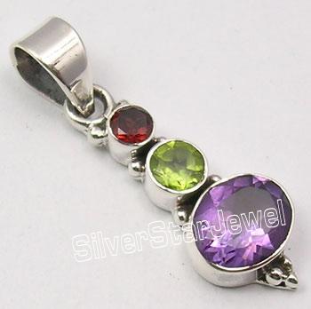 Pure Silver Natural GARNET, PERIDOT & AMETHYST Multi Color Pendant 3.5 CM
