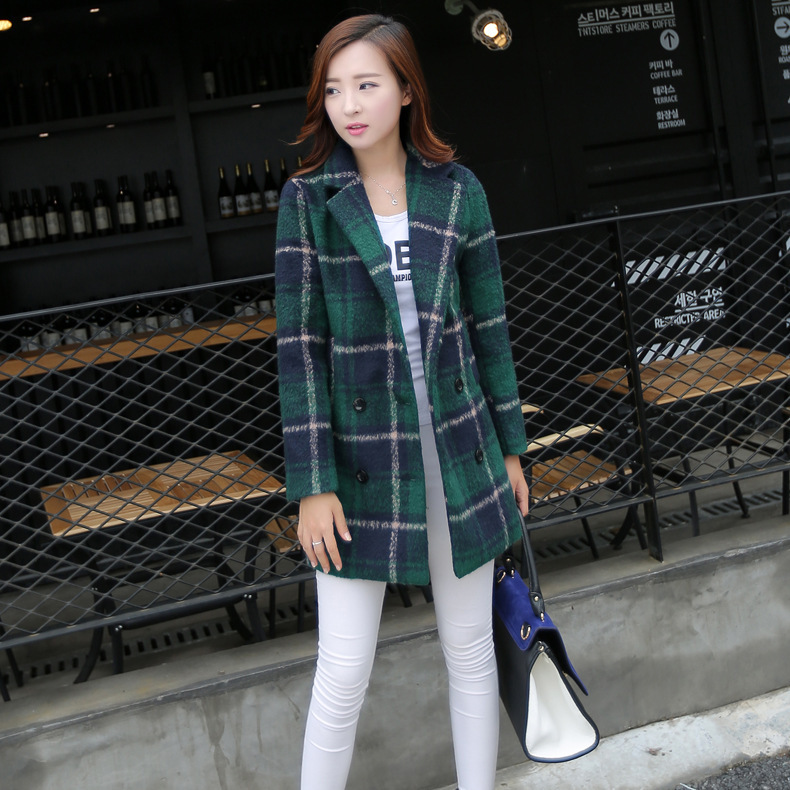 Plaid woolen coat new spring 2015 women's large size Korean version of Slim and long sections woolen coat QY15080403