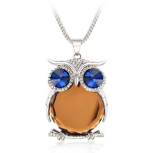 4 Colors New Owl Necklace Top Quality Rhinestone Crystal Pendant Necklaces Classic Animal Long Necklace Jewelry