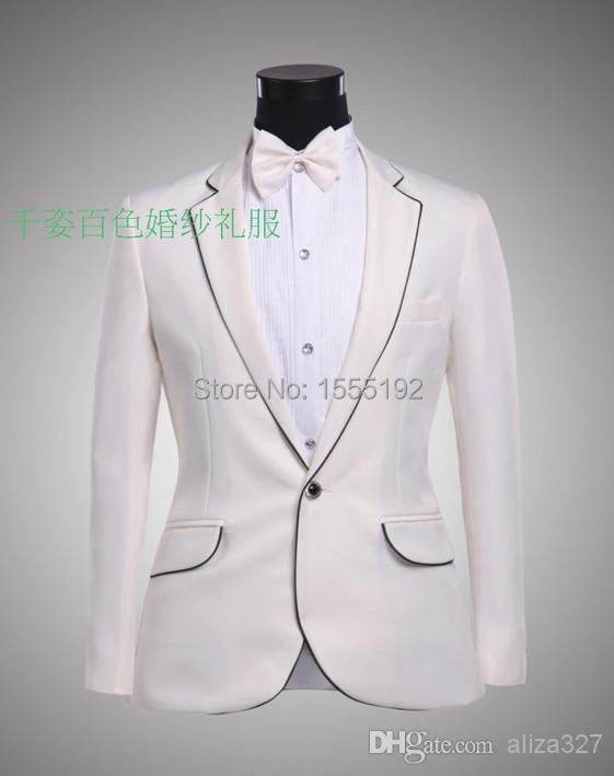 New pure white, the groom dress, black suit, on the edge of the latest design, the most fashionable style, can be customized(China (Mainland))