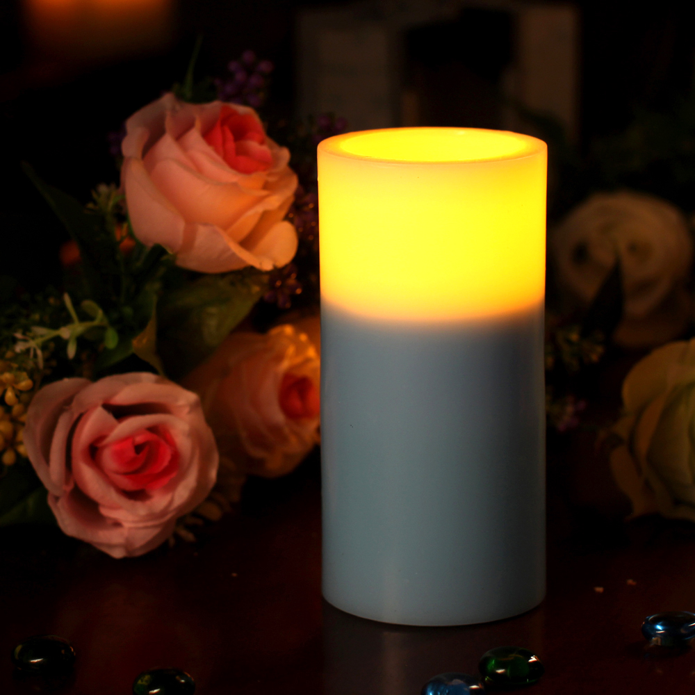 Flameless Candle Real Wax Led Candle Lights with 4 & 8 hours Timer ,Dual Color, Home Decorations,3 x 6 Inch(China (Mainland))