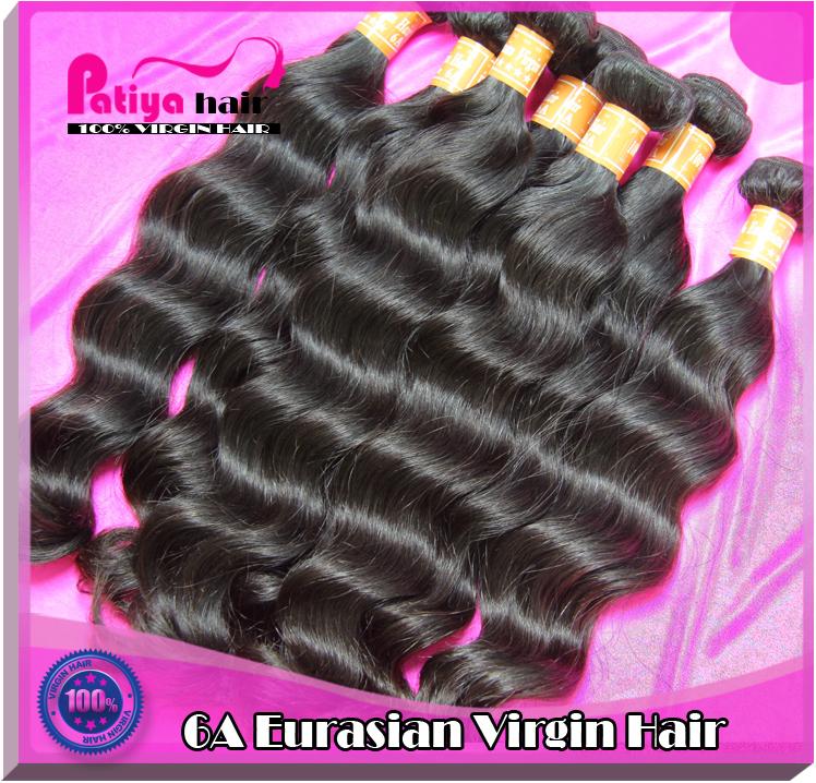 Top 6A wholesale 10 bundles unprocessed virgin Eurasian natural wave hair dark brown natural black Asia Europe wavy hair style(China (Mainland))