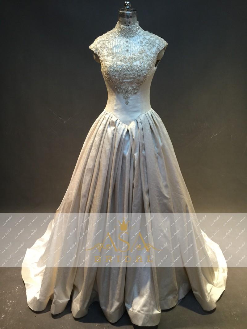 Buy real photo high neck short sleeves for Short beaded wedding dress