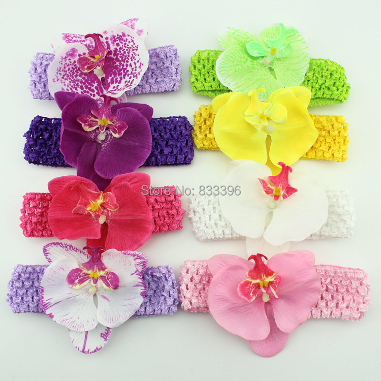 12pc Phalaenopsis Moth Orchids flowers crochet Headbands /Baby Hairbows flower hair band Children Accessories baby product KH032(China (Mainland))