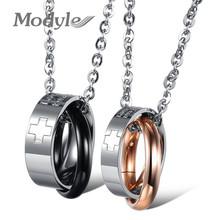 Modyle nuevo cubic zirconia collar de pareja de acero inoxidable joyería cruz por los hombres y las mujeres(China (Mainland))