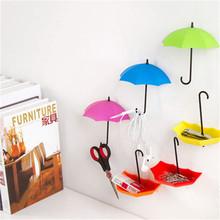 New 3Pcs/lot Umbrella Shape Cute Creative Self Adhesive Wall Door Hook Hanger Bag Keys Bathroom Kitchen Sticky Holder CX873428(China (Mainland))