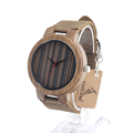 BOBO BIRD C17 Mens Watch Real Leather Band Antique Zebra Wood Watches With Red Anlaogue Display